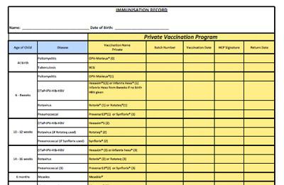 Private vaccination record